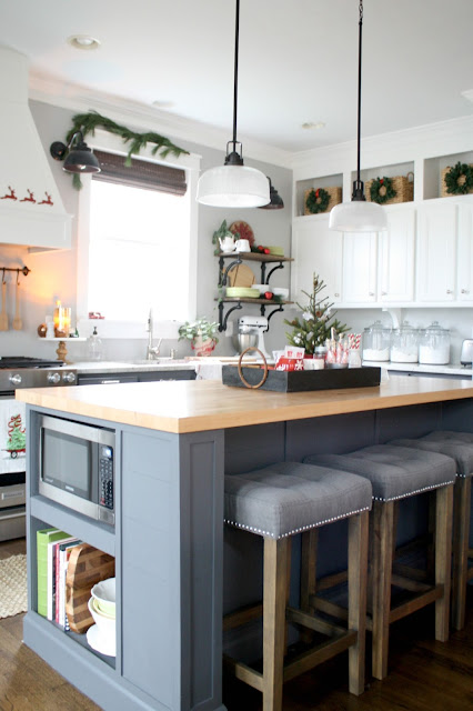 two toned Christmas kitchen