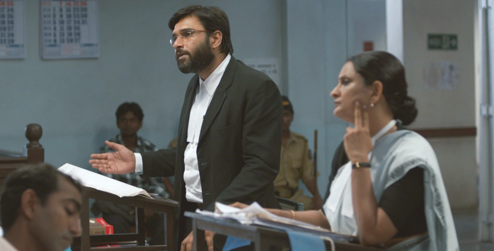 Vinay and Nutan Argue over Kamble's case, in Court (2014), Directed by Chaitanya Tamhane