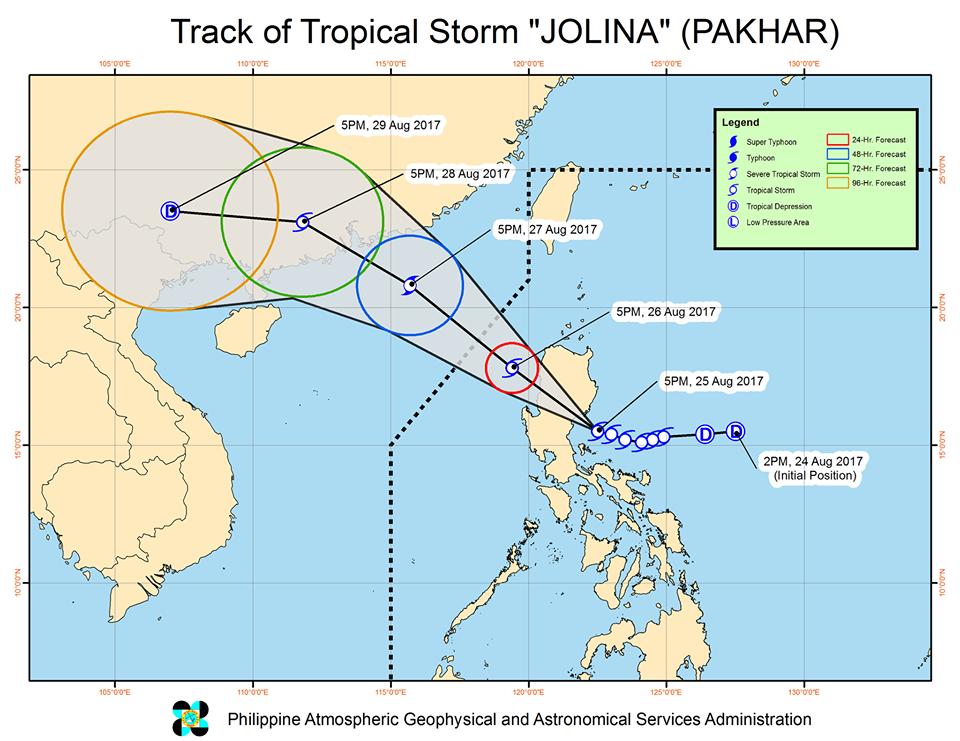 bagyong Jolina track August 25 2017