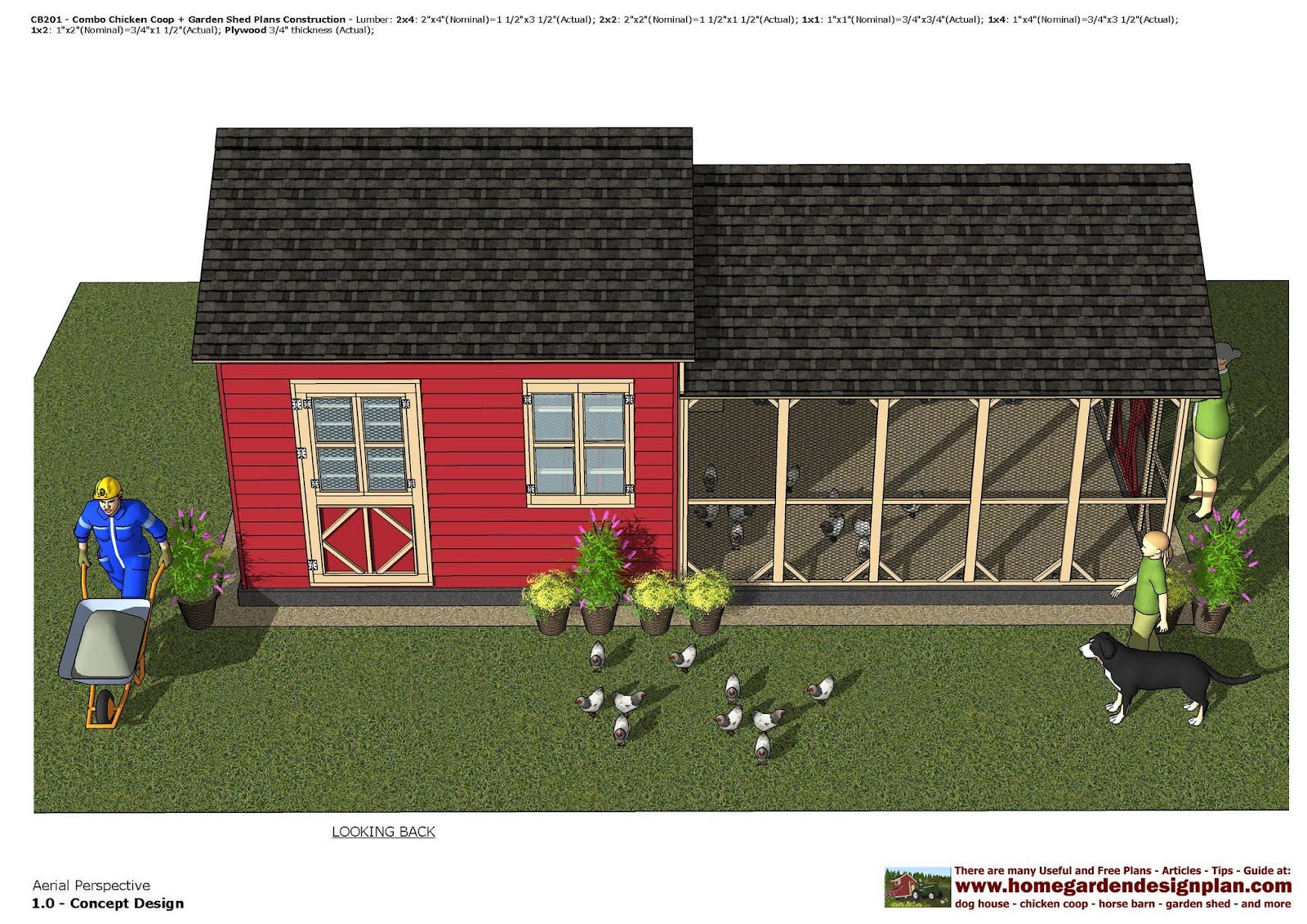 home garden plans CB201 Combo Chicken Coop Garden Shed Plans – Chicken Coop With Garden Roof Plans