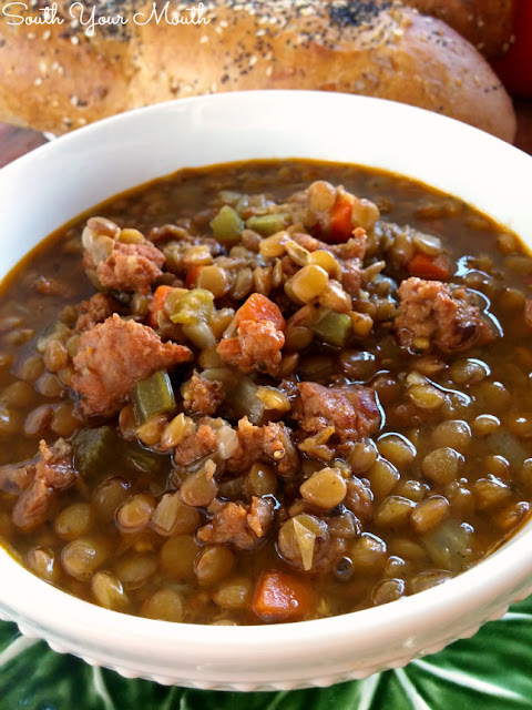 Italian Lentil Soup with Sausage! Lentil soup with spicy Italian sausage loaded with lots of garlic and herbs.