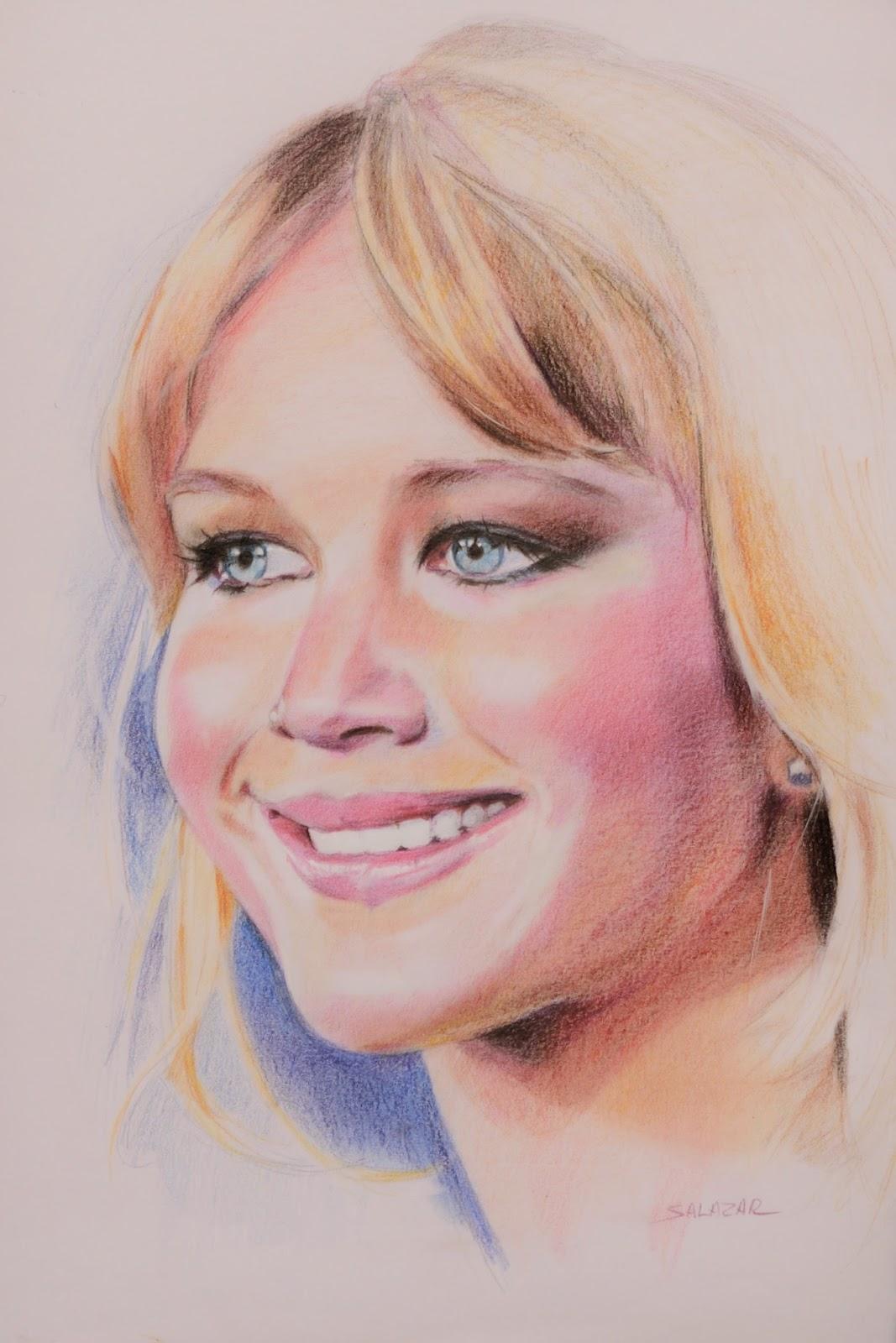 Dibujo de retrato con lápiz de color Faber-Castell Polychromos.