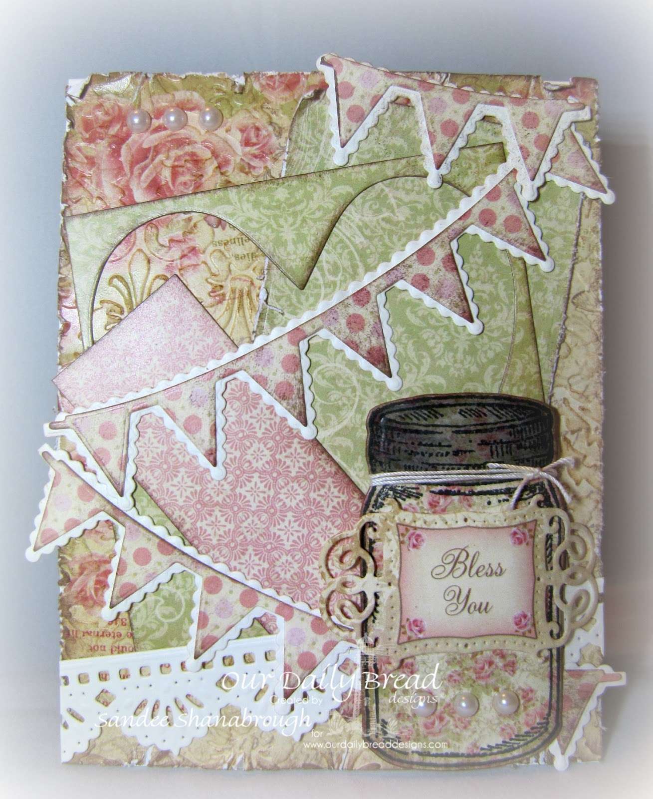 Stamps - Our Daily Bread Designs Blue Ribbon Winner, ODBD Blushing Rose Paper Collection,ODBD Custom Canning Jars Die,ODBD Custom Beautiful Borders Dies,ODBD Custom Ornate Hearts Die,ODBD Custom Pennant Row Die,ODBD Custom Vintage Flourish Pattern Die