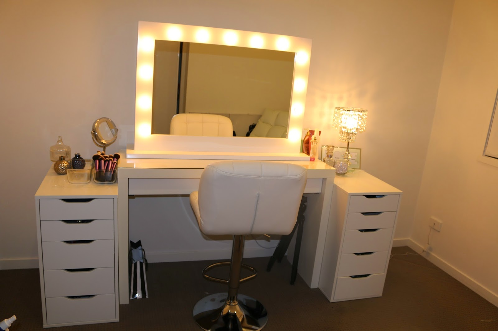 Malm Dressing Table Rogue Hair Extensions: Ikea Makeup Vanity & Hollywood Lights!