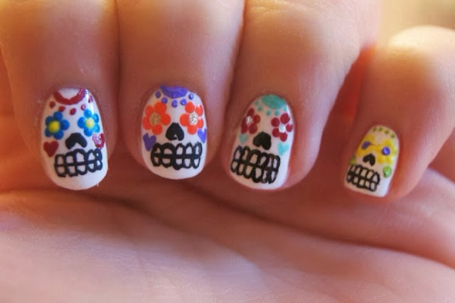 halloween nails nail art sugar skull