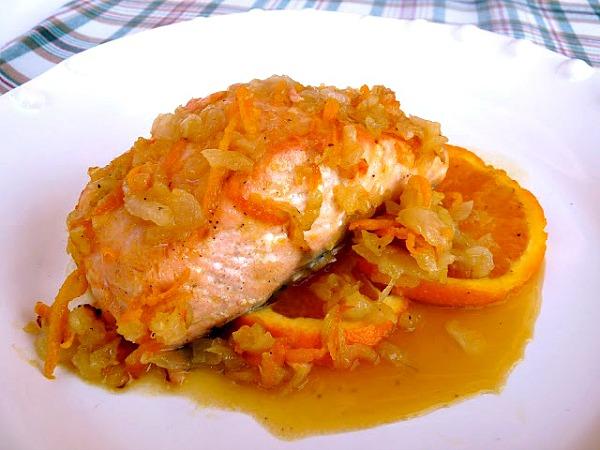 Receta de salmón al horno con naranja y miel
