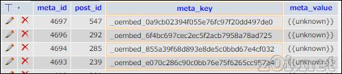 wp_postmetaテーブルの「_oembed_ {{unknown}}」というデータは削除してもよいのか?