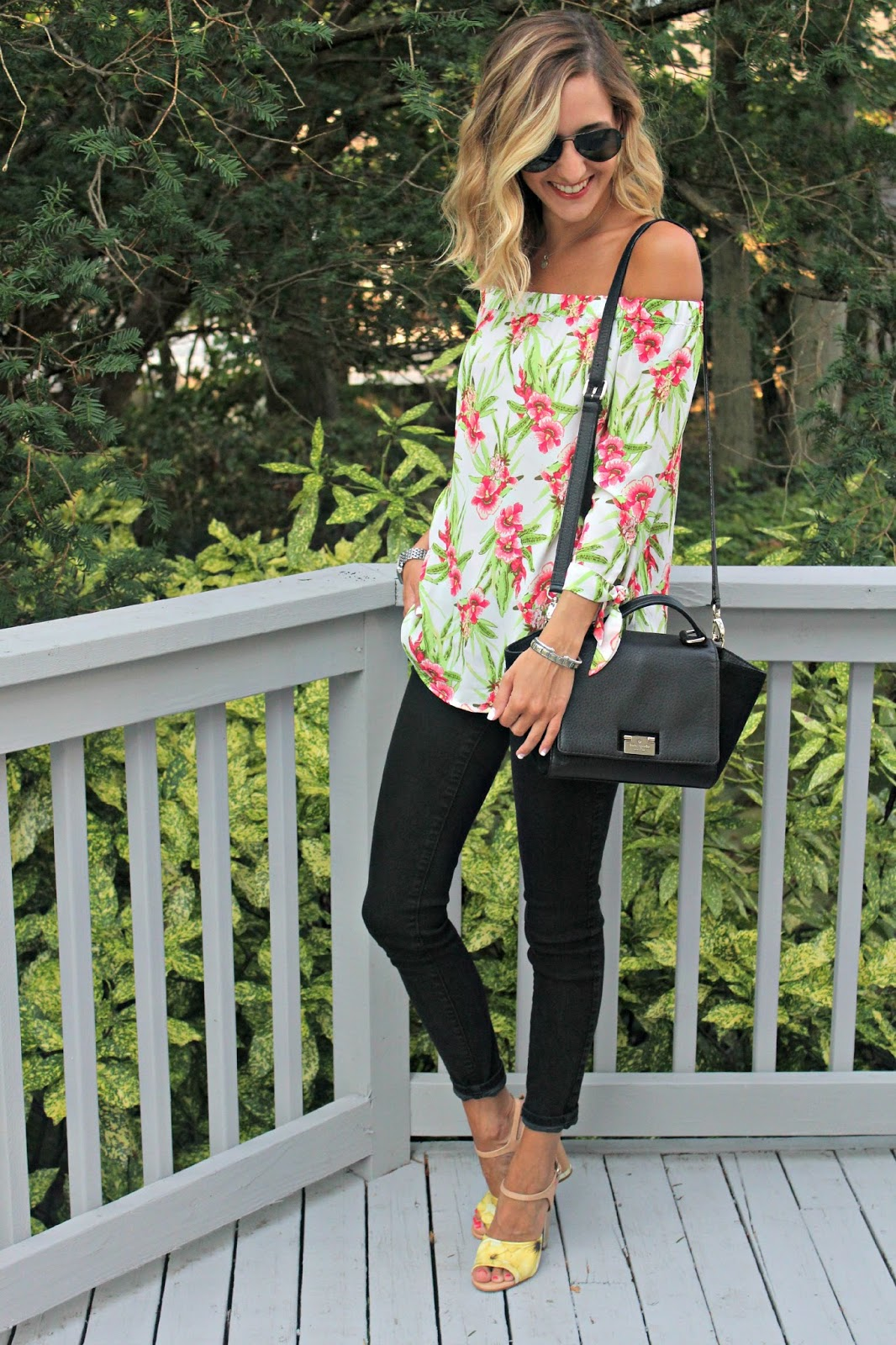 black and tropical floral outfit