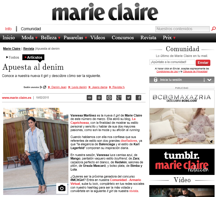 La Caprichossa, It Girl, Revista Marie Claire