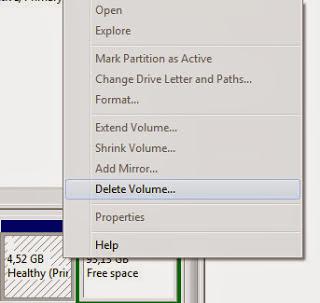 7. Untuk yang terakhir kita hapus partisi linux, klik kanan pada partisi linux lalu pilih Delete Volume,