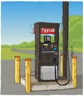 Pen and ink drawing of Diesel Gas Pump, colored with Adobe Ideas and Illustrator.