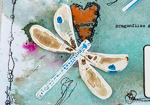 Layers of ink - Butterflies and Dragonflies Tutorial Art Journal Page by Anna-Karin Evaldsson. Dragonfly.
