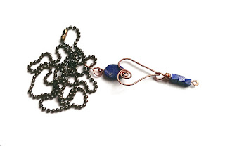 Handmade Copper Heart Necklace With Lapis Lazuli Stones