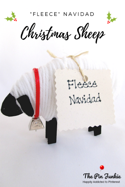"Wish someone a ""Fleece"" Navidad with this cute Christmas sheep. Complete directions included for this easy Christmas craft."