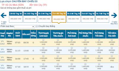 Giá vé máy bay đi Vinh tháng 10