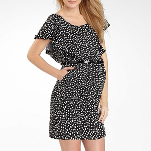 6d382439cc67d Flutter-Sleeve Maternity Dress Black If you're looking for a maternity dress  that makes you feel pretty, this is it! A charming abstract print and soft  ...