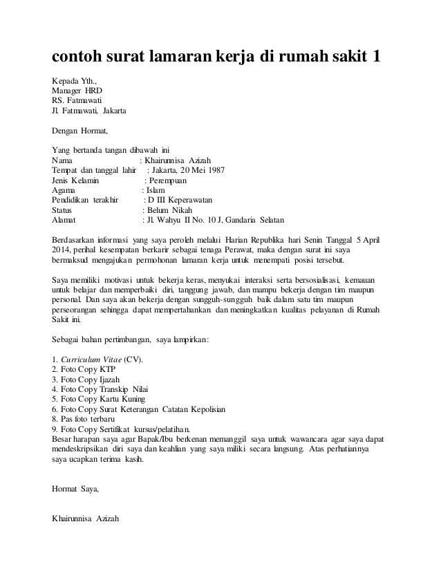 Contoh Surat Lamaran Pekerjaan Perawat Rumah Sakit Susan Jobs