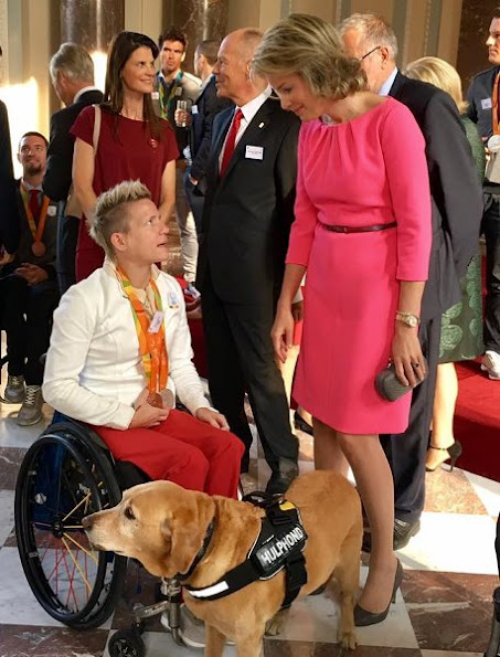 Queen Mathilde wore Natan Dress, gold diamond earrings, DVF clutch bag, Natan Pumps