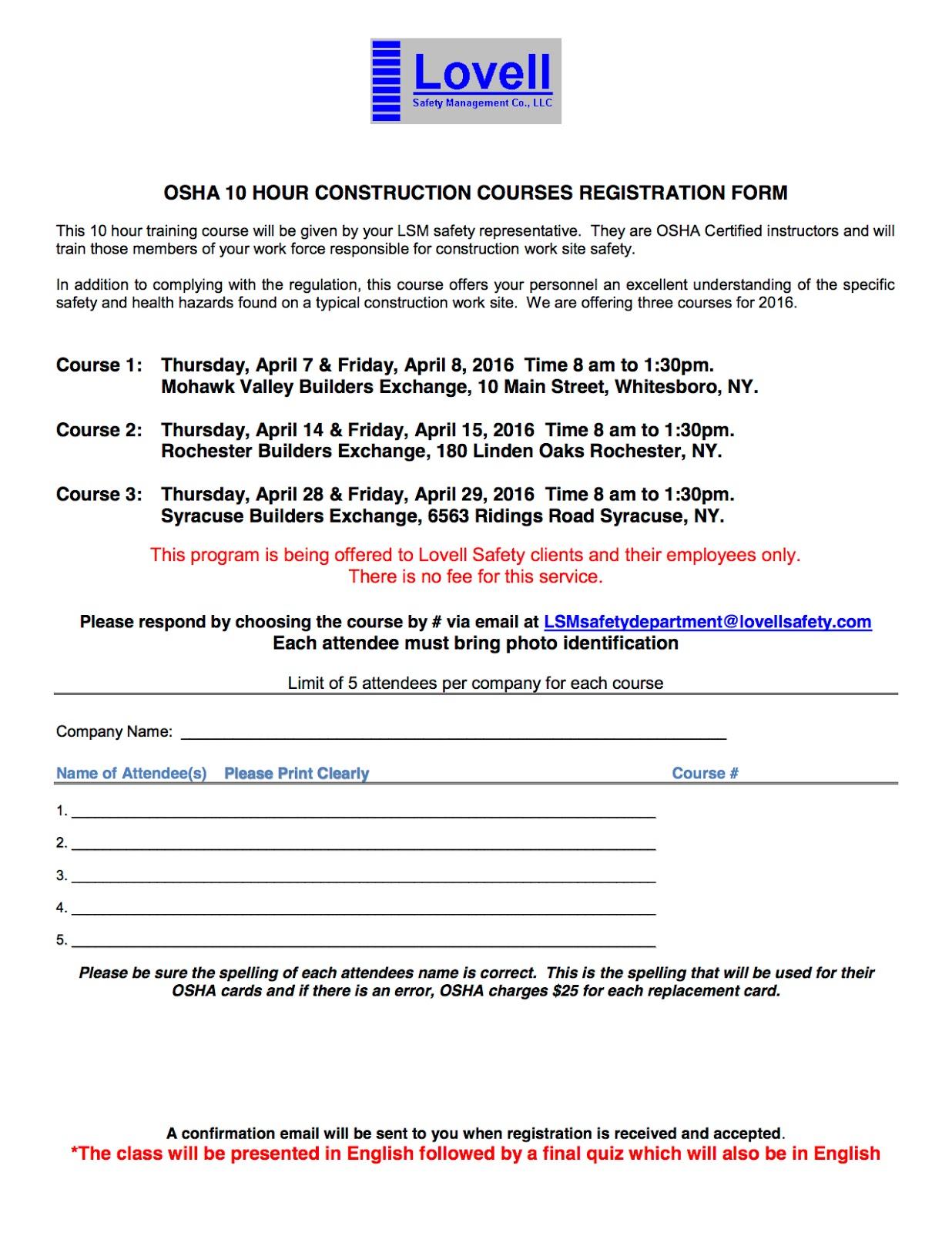 Safety Pays Osha 10 Hour Construction Courses Registration Form