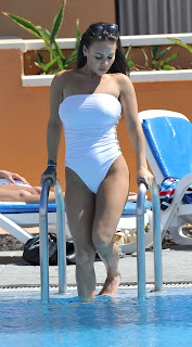 Chantelle Connelly, White Swimsuit, Tenerife
