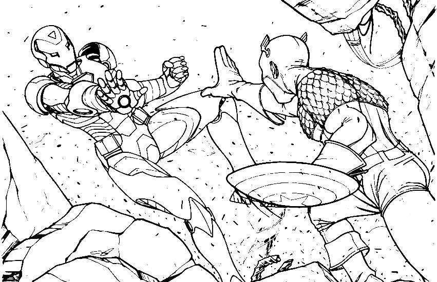 Capitan America Para Colorear: Pinto Dibujos: Capitan America Contra Ironman Dibujo Para