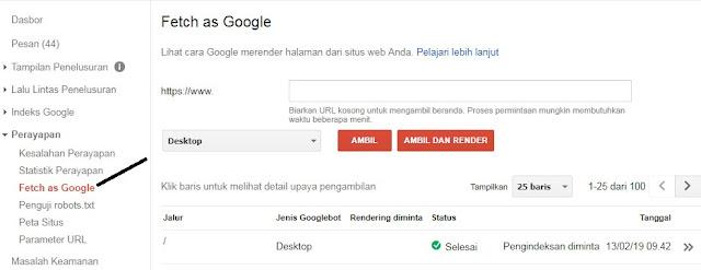 Gambar Submit URL Google Webmaster