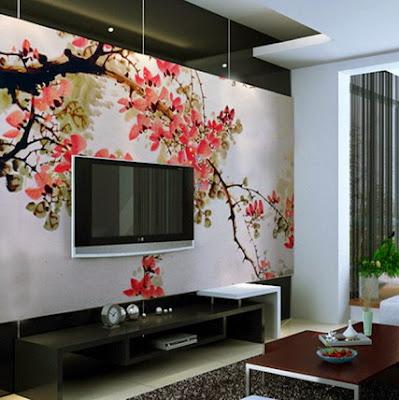 Lukis dinding pohon bunga