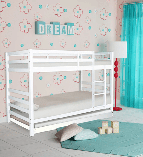 McDave Bunk Bed with Trundle in White Finish by Mollycoddle