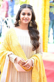 Keerthy Suresh in Yellow With Cute and Lovely Smile for New Movie Launch 4