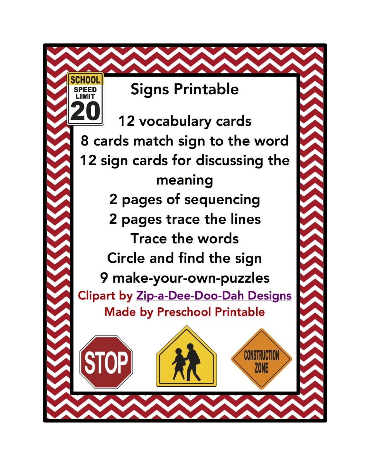 Preschool Printables Sign Printable