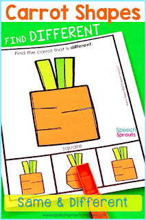 Clothespin task cards and more activities with bunny shapes and carrot shapes to teach the concepts of same and different in preschool speech therapy.