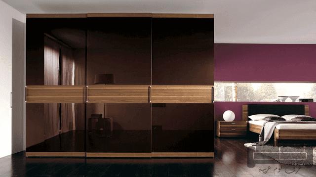 صور غرف نوم مودرن، غرفة نوم مودرن بني في ذهبي لامع كاملة 2016