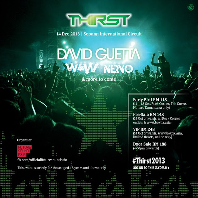 Heineken Thirst 2013 Line Up David Guetta W&W Nervo SIC Malaysia