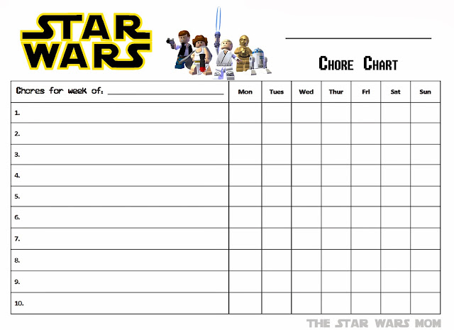 image about Chore Chart Free Printable called Lego Star Wars - Absolutely free Printable Chores Chart - The Star Wars