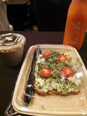 salad toast, chia pudding, and fresh juice