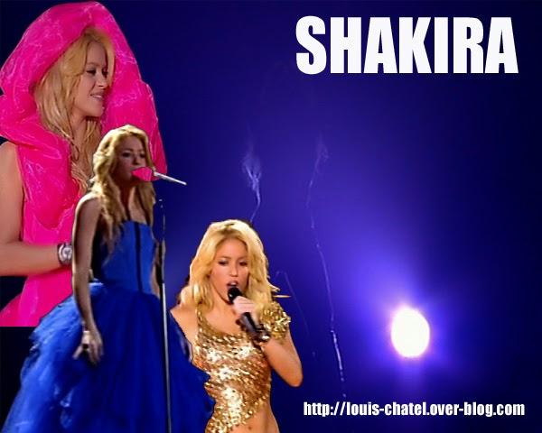 Montage photo avec différentes tenues de scène de Shakira