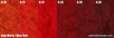 Césped electrostático Rojo Marte