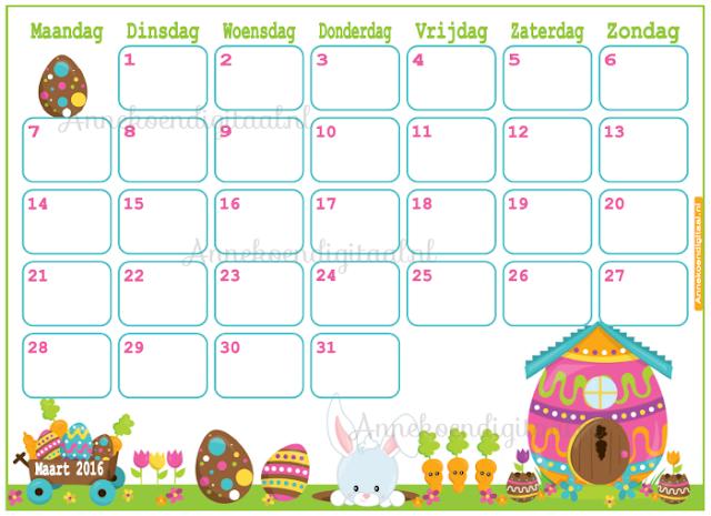 Paaskalender, aftelkalender voor pasen, kalender voor kinderen, kalender printen, printable kalender