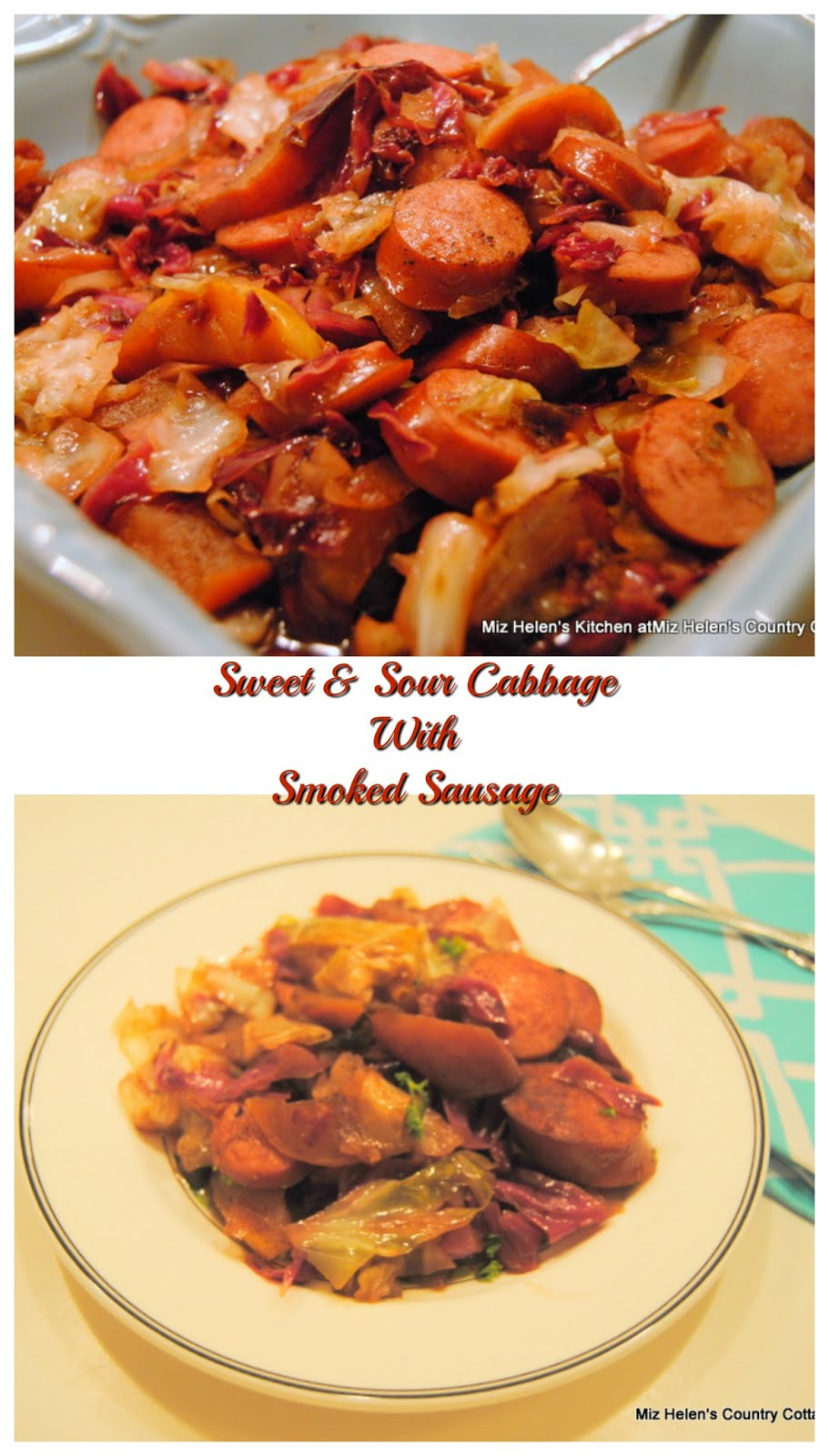 Sweet and Sour Cabbage with Smoked Sausage