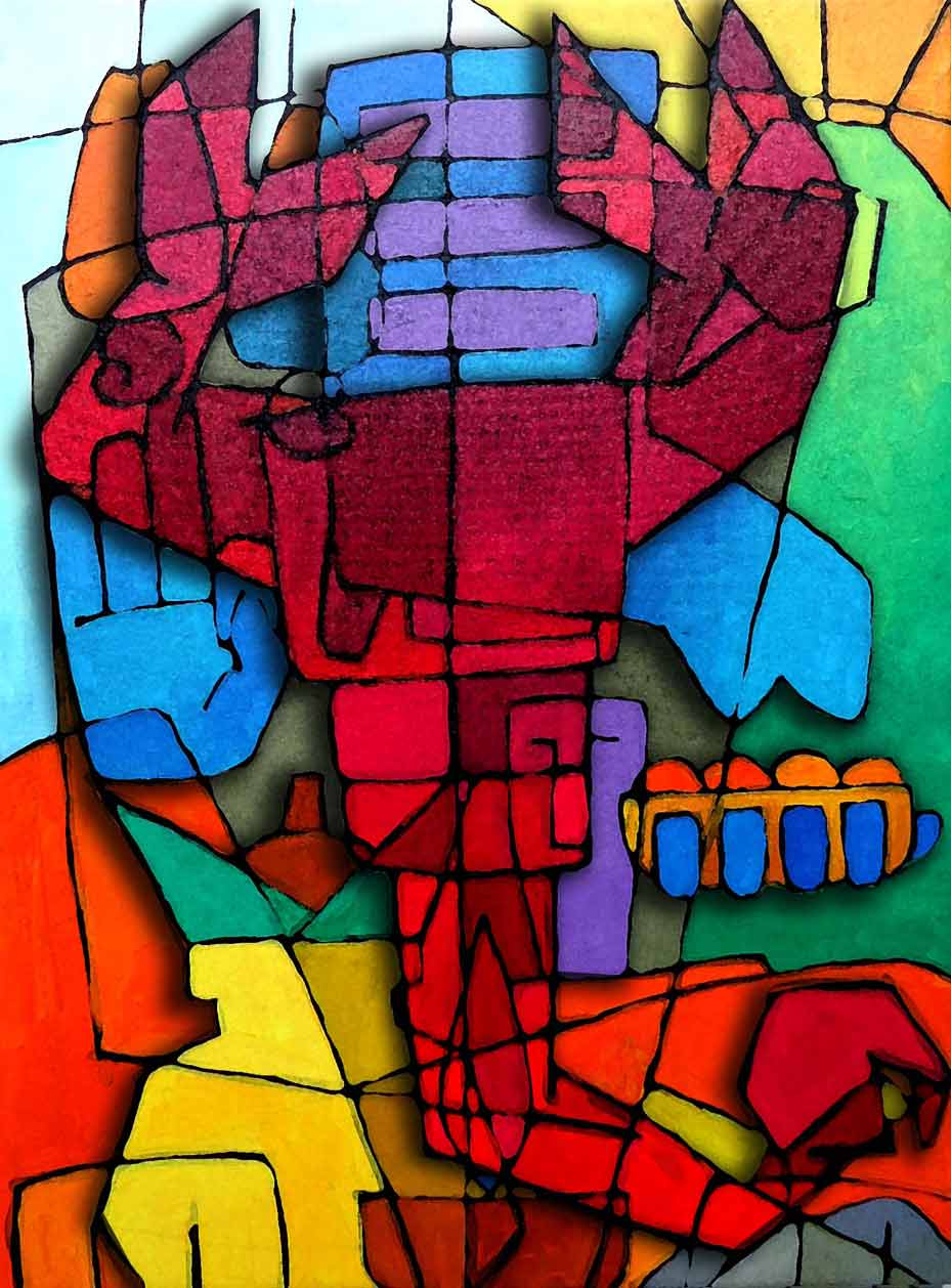 Abstract Artist Ganesh: Scorpic Horoscope ( SOLD)