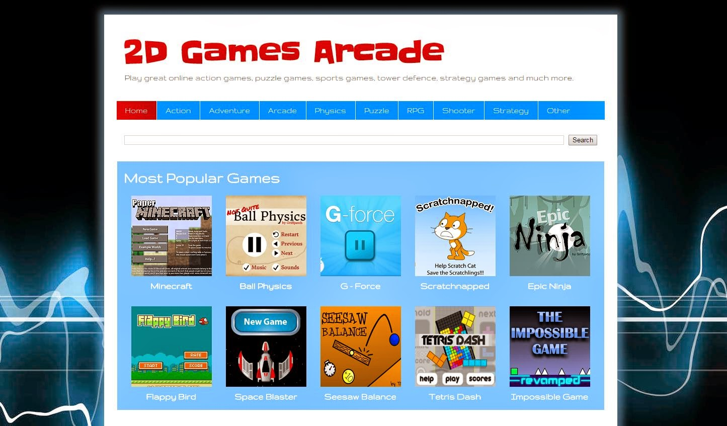 2D Games Arcade Website