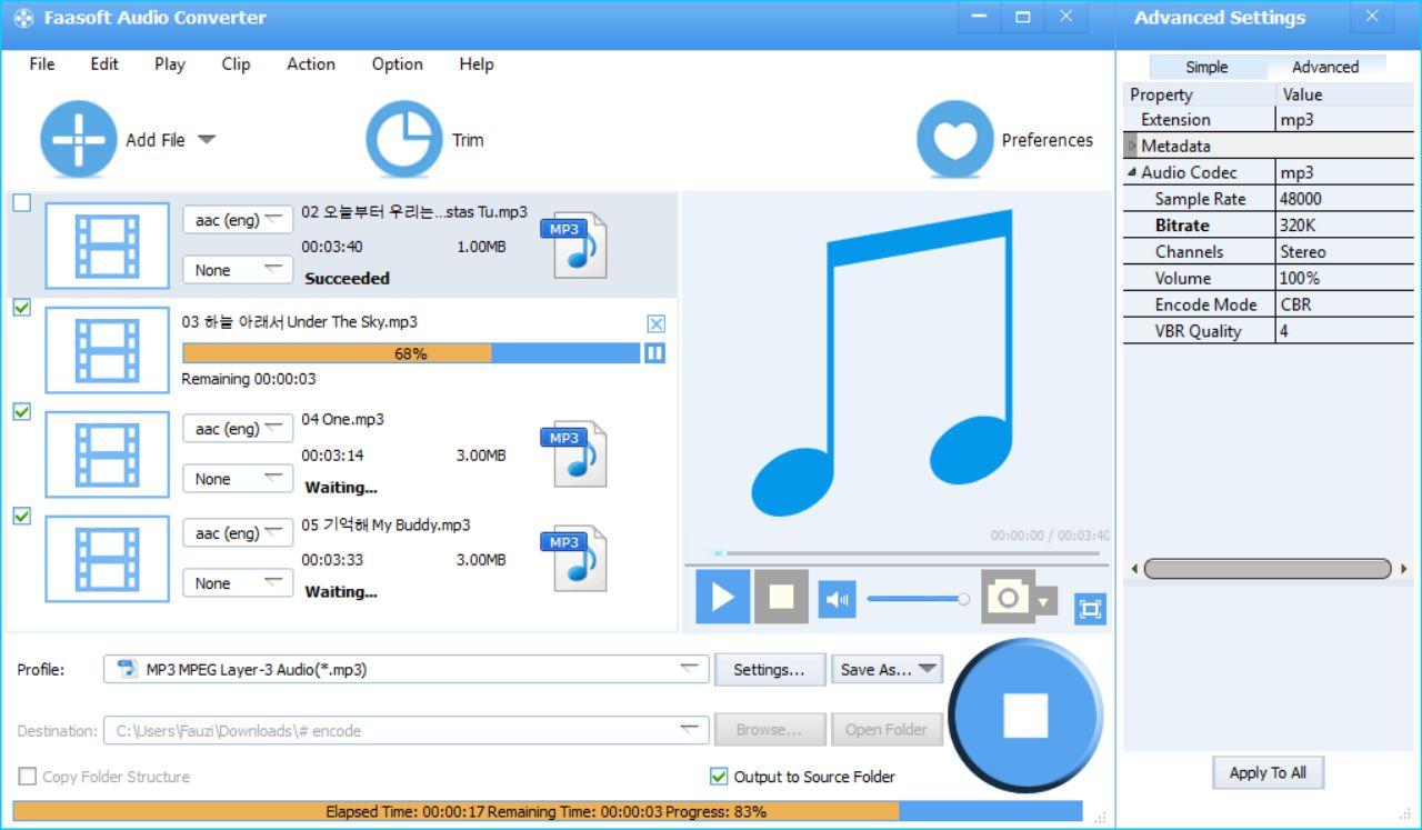 Faasoft Audio Converter - Tunggu Proses Convert Selesai