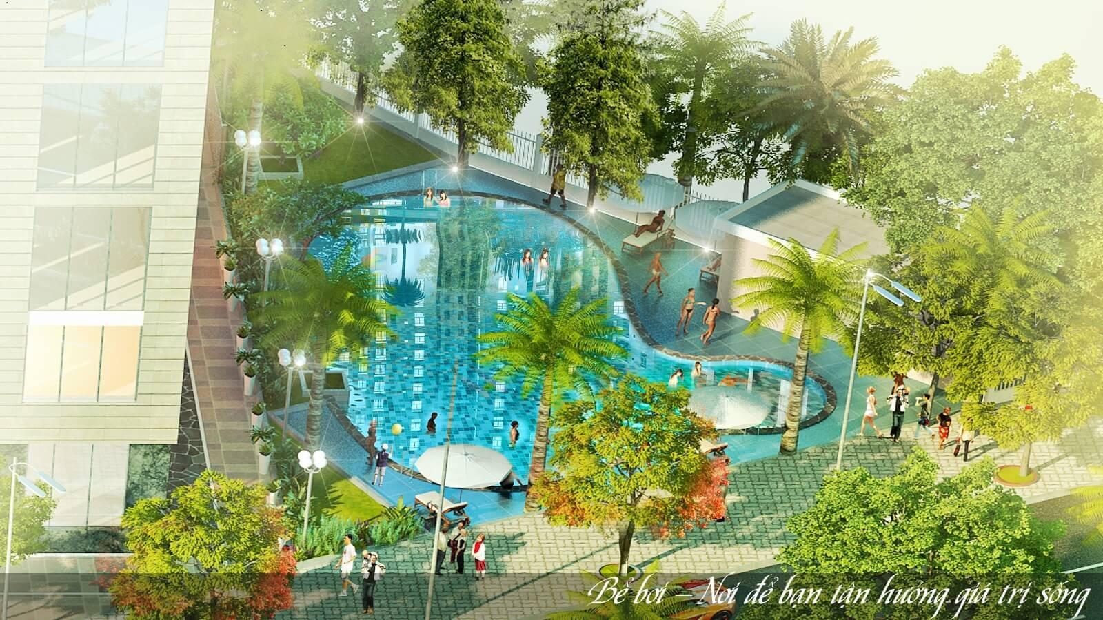 Bể bơi tại dự án chung cư Lộc Ninh.