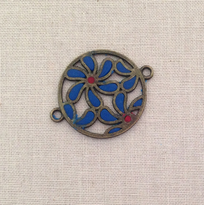 How to make cloisonne style pendants using wire medallions from chain and polymer clay. Free tutorial at Lisa Yang's Jewelry blog.