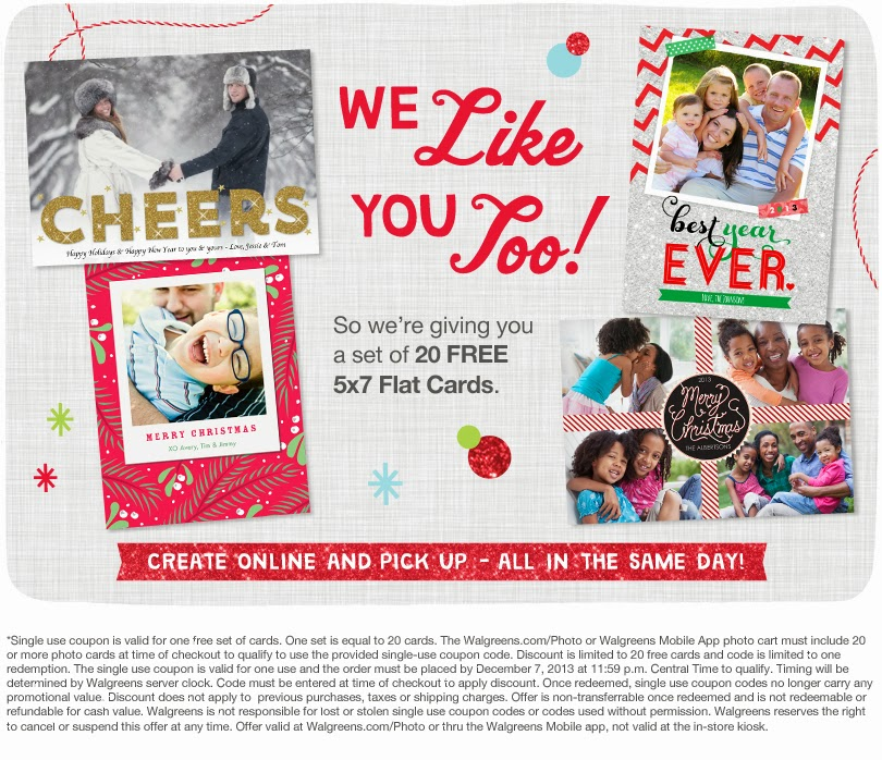Walgreens Christmas Card.Mom Knows Best 20 Free 5x7 Photo Cards At Walgreens