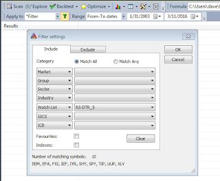 AmiBroker Backtester Filter Settings