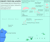 Map of the Senkaku/Diaoyu Islands, disputed between Japan and China