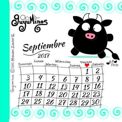 Calendario Mes septiembre 2017, Yack toro negro tierno Guyuminos tarjeta ilustracion cute kawaii