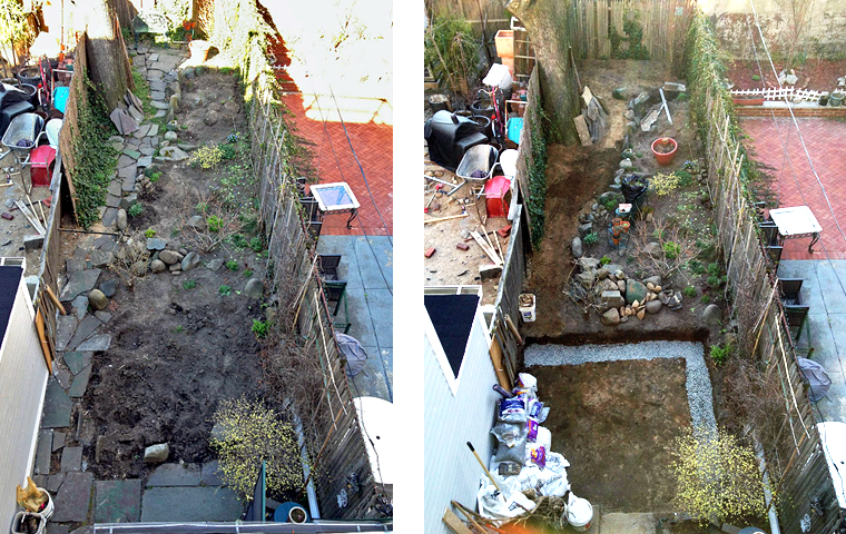 Reclaimed slate backyard patio Artist and Builder excavation and retaining wall fill