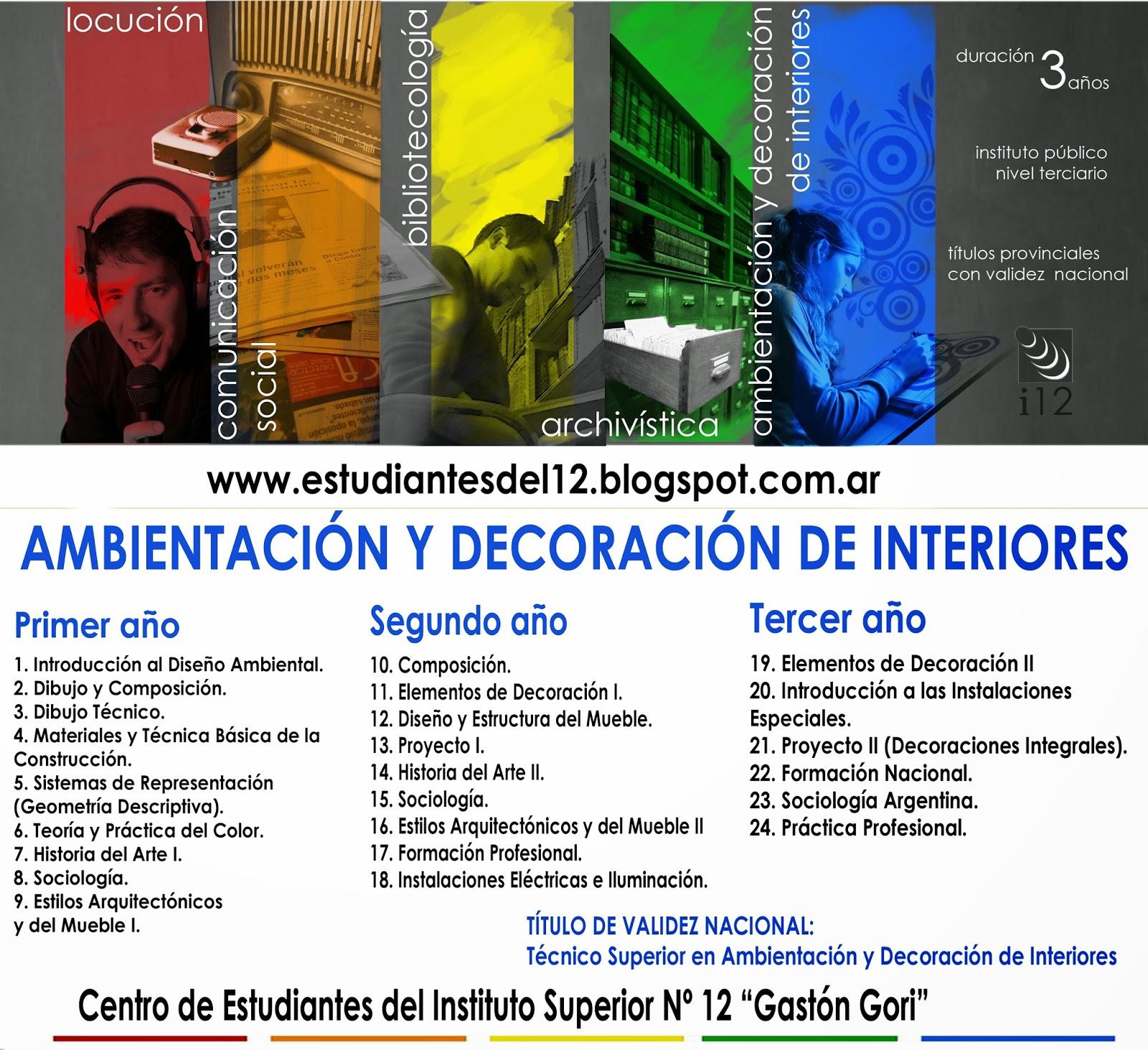 Centro de estudiantes del 12 carrera ambientaci n y for Estudiar decoracion de interiores